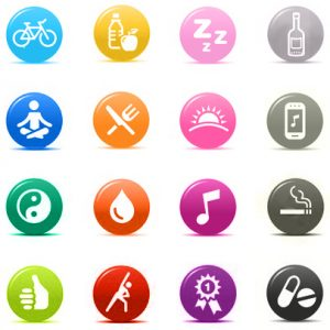 17533647 - colored dots - health and fitness icons